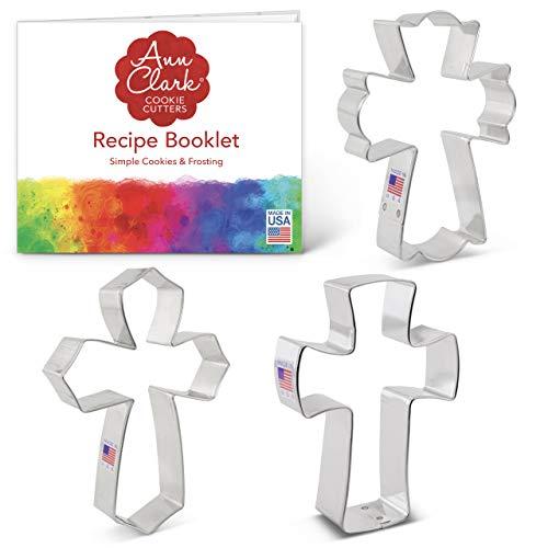 Ann Clark Cookie Cutters 3-teiliges Ausstechformen-Set Kreuz mit Rezeptheft Heiliges Kreuz extra großes Kreuz Fancy Cross