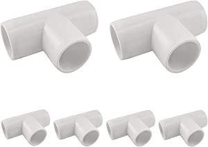 MARRTEUM 1/2 Inch 3 Way PVC Tee Elbow Fitting Furniture Build Grade SCH40 Pipe Connector for Greenhouse Shed / Garden Support Structure / Storage Frame [Pack of 6]
