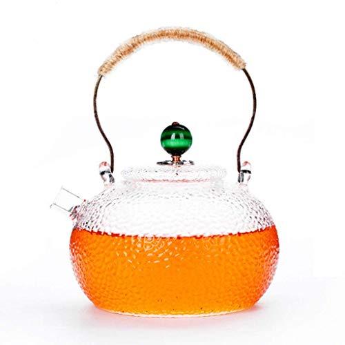 Wghz Fashion Tea Kettle Glass Teapot High Temperature 950ml (32oz) Safe with Soft Grip Anti-Hot Handle Clear Teapot for Loose Tea Teapots (Color : Green)