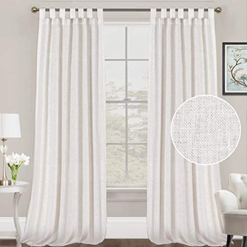 FantasDecor Linen Curtains Natural Linen Blended Curtains Tab Top Curtains Privacy Added Window Treatments Drapes for Living Room Light Filtering Curtains 2 Panels, 52 by 108 Inches, Off White