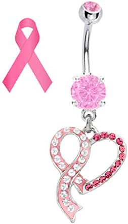 Pink Ribbon Heart Breast Cancer Support Awareness Belly Button Navel Piercing bar Body Jewelry 14g