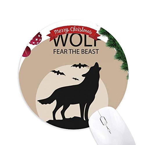 Wolf Ghost Fear Halloween Kürbis Rundgummi Maus Pad Weihnachtsbaum Mat