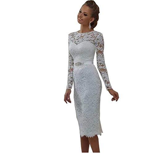 Cloverbridal Brautkleider Kurz Elegant Vintage Hochzeitskleid Standesamt Weiß Langarm Tüll Spitze Knielang mit ärmel Weiß 34
