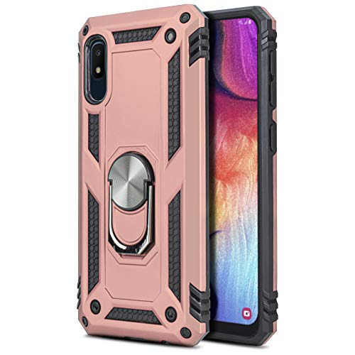 CasemartUSA Phone Case for [Samsung Galaxy A10E], [Loop Series][Rose Gold] Full Rotating Metal Ring Cover with Kickstand for Galaxy A10E (Tracfone, Simple Mobile, Straight Talk, Total Wireless)