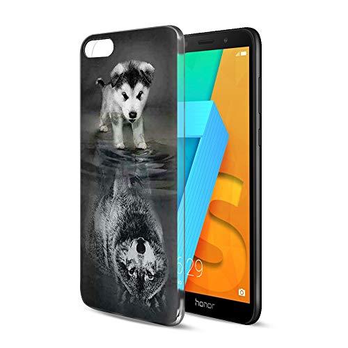 Pnakqil Honor 7S / Huawei Y5 2018 Cover Trasparente, Premium Custodia Silicone con Disegni Leggero Ultra Sottile TPU Morbido Antiurto 3d Pattern Bumper Case per Honor 7S / Huawei Y5 2018, Cane Lupo