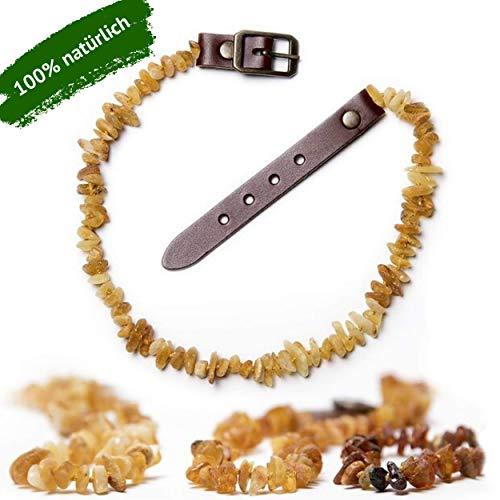 ChronoBalance® Bernsteinkette für Hunde zur Abwehr von Zecken und Flöhen, Hundehalshand aus echten Bernstein mit verstellbaren Lederverschluss, Größen für kleine und große Hunde, ohne Chemie
