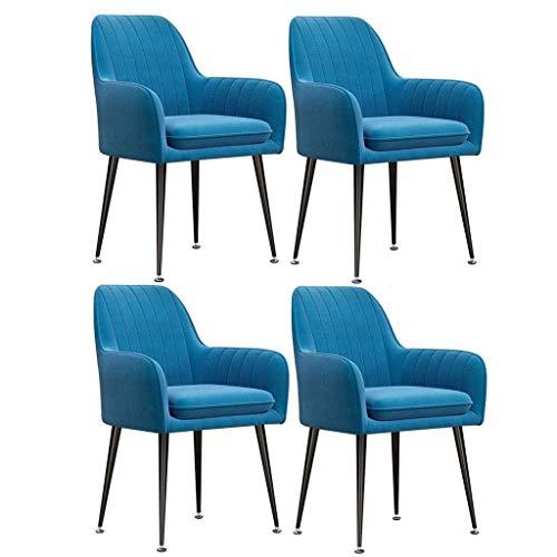 HLY Sillas comerciales, silla de comedor tapizada en terciopelo con patas de metal, juego de 4 sillas con cojines con brazos decorativos para sala de estar, taburete de maquillaje de cocina de mediad