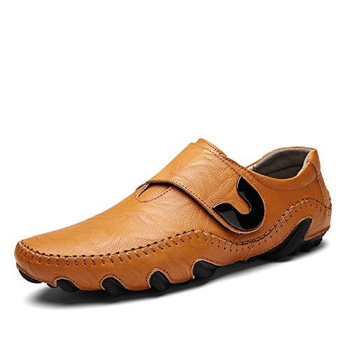 [Gladsome] スリッポン メンズ ローファー 本革(牛革) 革靴 カジュアルシューズ ドライビングシューズ フラット手作りの靴 通気 軽量 滑り止め 紳士靴 ファッション おしゃれ 人気 柔らか (24.0cm イエロー)