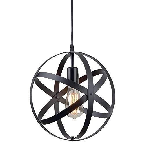 H.W.S Vintage Lampara techo Retro industrial lampara colgante Ø 30 cm para bombillas E27, Iluminación colgante negro, para sala de estar Comedor Restaurante Sótano sótano etc