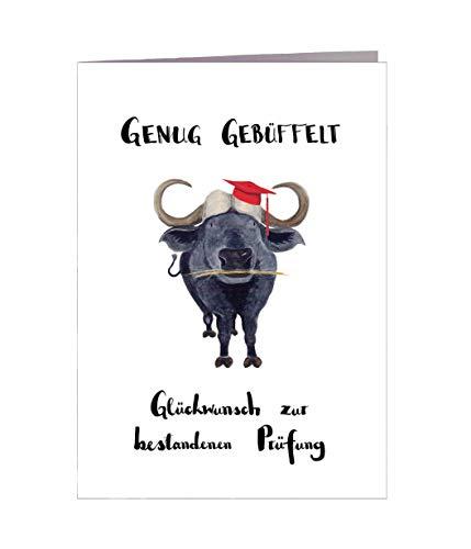 Glückwunschkarte bestandene Prüfung - Handmade in Hamburg - 100% Recyclingpapier - Glückwunschkarte mit Umschlag Abschluss Prüfung Geschenkkarte