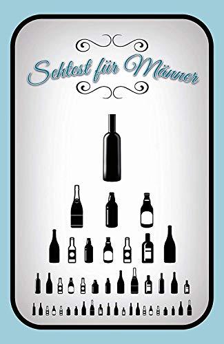 Sehtest für Männer Bier Flaschen Blechschild Metallschild Schild gewölbt Metal Tin Sign 20 x 30 cm