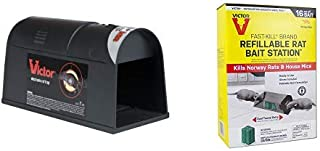 Victor Electronic Rat Trap - Reusable, Easy to Bait Rat Trap M930 Fast-Kill Brand Ready-to-Use Refillable Rat Station – 8 Blocks