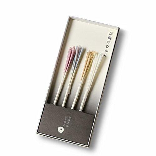 普通のものとは見た目もパッケージも、火花の美しさも違う、希少な国産高級線香花火セット「蕾々(らいらい)」。線香花火「蕾(つぼみ)」の桃色・水色・橙色・白色が各色8本ずつセットになっています。  火薬には宮崎産の松煙、紙は福岡県八女市の手すき和紙を使い、草木染めで染色。日本の四季をイメージした色合いは淡く繊細な美しさで、火をつけるのがもったいないほど。