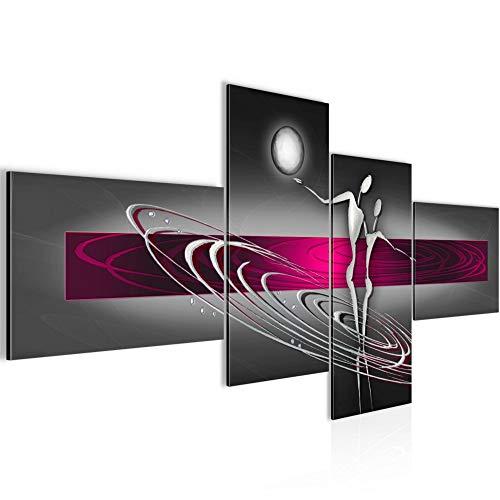 Bilder Abstrakt Figuren Wandbild 150 x 60 cm Vlies - Leinwand Bild XXL Format Wandbilder Wohnzimmer Wohnung Deko Kunstdrucke Pink Grau 4...