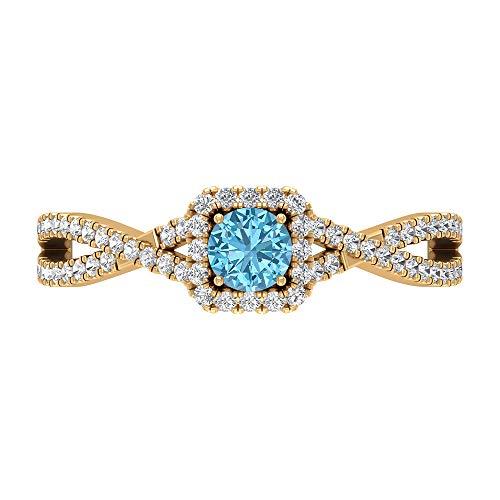 Rosec Jewels 14 quilates oro amarillo redonda round-brilliant-shape H-I Blue Diamond Aquamarine