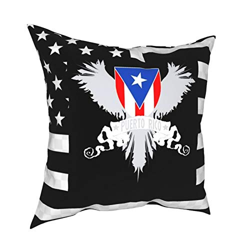 Yzn Throw Pillow Covers, Puerto Rico Resuable Cushion Cover Set -Hidden Zipper -Hypoallergenic- Wrinkle Resistant for Sofa Bed,18 X 18 Inches