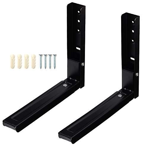 Microwave Bracket Wall Mount, Foldable Kitchen Stretch Oven Stand Shelf Rack Load 100 lb, Black