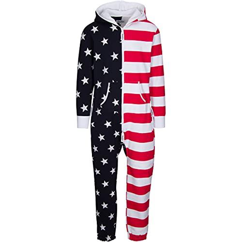 Woodies American Flag Onesie Patriotic USA One Piece Pajamas Unisex (Small)