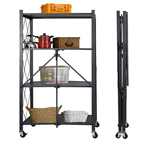 Storage Shelving Unit with Wheels, 4-Tier Perforated Sheet Layer Foldable Metal Rack Freestanding for Garage Kitchen Collapsible Heavy Duty Organizer Shelves-Grey