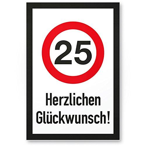 Bedankt! 25 jaar hartvormige felicitatie, plastic bord - cadeau 25 verjaardag, cadeau-idee verjaardagscadeau vijfentige, verjaardagsdeco/feestdecoratie/feestaccessoires/verjaardagskaart
