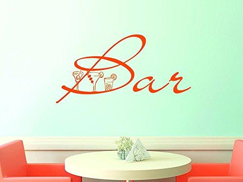 Graz Design 620175_40_070 Wandtattoo Deko für Küche Esszimmer Wände gestalten Ideen Spruch Bar und 3 Cocktail Gläsern 79x40cm Schwarz