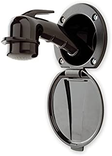 Ambassador Marine Plastic Lid/Cup Recessed Shower Kit with Small Black Sprayer and 6-Feet Stainless Steel Hose, Black