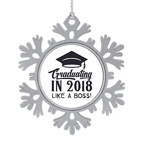 Blafitance Christmas Ornaments 2020, 3'' Snowflake Meatal Ornament Graduating in 2018 Like A Boss! Home Hanging Decor for Xmas Tree Christmas Tree Decorations