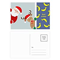 クリスマスのサンタクロースのヘラジカの一瞥 バナナのポストカードセットサンクスカード郵送側20個