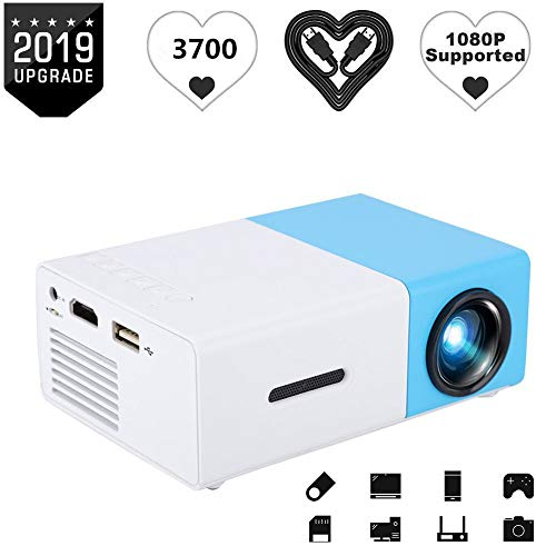 ASHATA Mini Beamer, draagbare mini-multimedia Full HD beamer videobeamer home theater beamer,ondersteunt HDMI/USB/AV/audio en afstandsbediening voor slaapkamer, werkkamer/reis/party enz, EU.