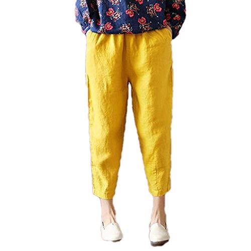 U/A Women Pants Summer Loose Thin Fabric Linen Cotton Pant Solid Color Harem Pants Linen Yellow
