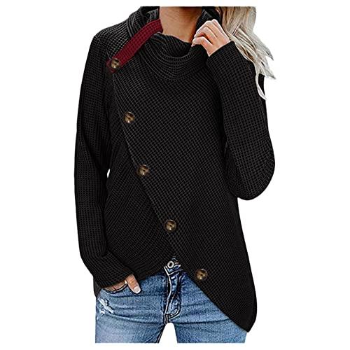 XUNN Jersey de punto para mujer, de Navidad, para otoño, invierno, cuello alto, de un solo color, con botón, de manga larga, cálido, básico, casual, jersey irregular., 01-negro, L