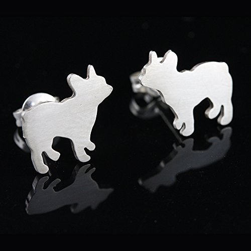 French Bulldog 'Frenchie' Sterling Silver Silhouette Earring Studs