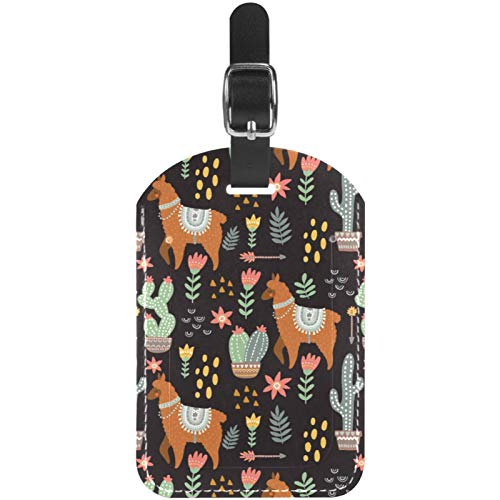 Luggage Tags Alpaca Llama and Cactus Leather Travel Suitcase Labels 1 Packs