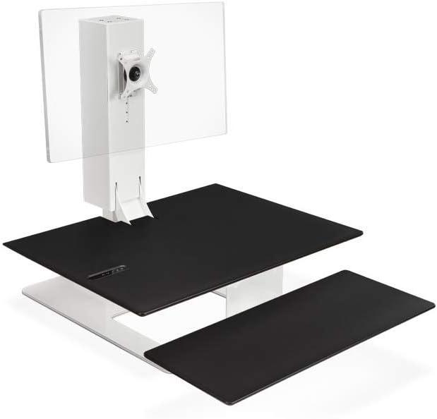 UPLIFT Desk - E7 Electric Standing Desk Converter with Black Desktop and White Base (Single Monitor)