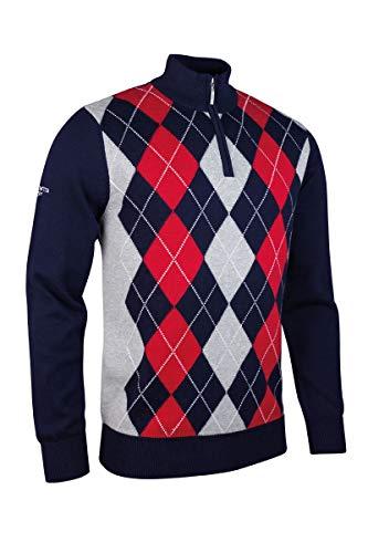 GLENMUIR MKC7534ZN Herren Golf-Pullover mit Reißverschluss, Argyle-Muster, Kaschmir M Navy/Lt Grey Marl/Granat/Weiß