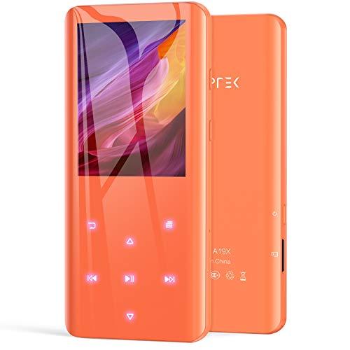 AGPTEK 32GB MP3 Player Bluetooth 5.0 mit 2,4 Zoll TFT Farbbildschirm, HiFi Musik Player mit Lautsprecher, Touch-Tasten, UKW-Radio, Aufnahme, Unterstützung bis zu 128 GB, Orange