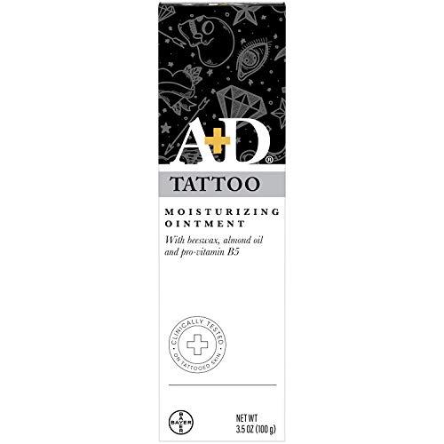 A+D Tattoo Skin Moisturizing Ointment, Skin Moisturizer with Beeswax, Almond Oil and Pro- Vitamin B5-3.5 Oz Tube