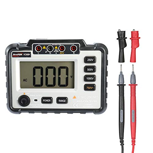 Medidor de resistencia de aislamiento, megometro de aislamiento digital DC250V / 500V / 1000V / 1000V AC750V con amplio rango de medición VC60B
