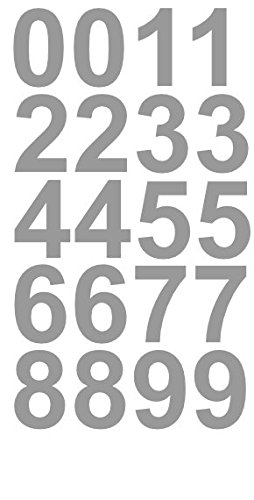 2' Inch Premium Mailbox Number Vinyl Decal Sticker Sheet (Silver) | Waterproof and Fade-Resistant | Easy to Install Adhesive Vinyl Digits | Home, Apartment, Condo or Business by CustomDecal US