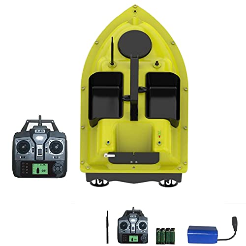 enochii Barca Esca da Pesca, Fish Bait Boat GPS Crociera a Doppio Motore, Fish Finder 2Kg Caricamento 500M Remote Control Fishing Bait Boat RC Boat Barca Radiocomandata da Pesca