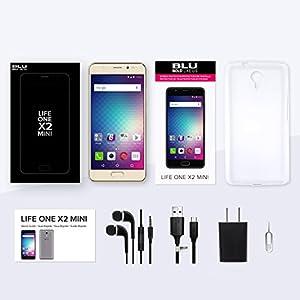 """BLU Life ONE X2 Mini - 5.0"""" Unlocked Smartphone -4G LTE - 64GB + 4GB RAM -Gold"""