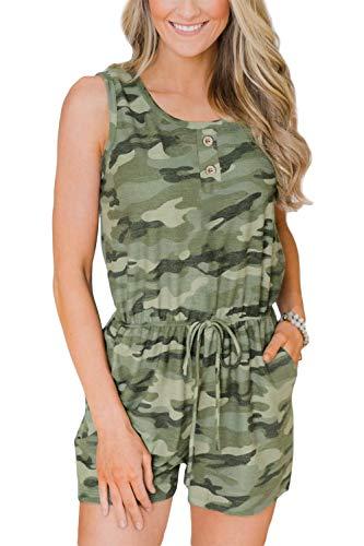 BesserBay Damen Jumpsuit Sommer Kurz Playsuit Baumwolle Overall mit Knopf-Deko und Schnürung Camouflage 44