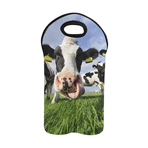 2 Bottle Wine Carrier Black and White Dairy Cows Wine Tote Bag 2 Bottle Double Bottle Carrier Neoprene Wine Bag Thick Neoprene Wine Bottle Holder Keeps Bottles Protected