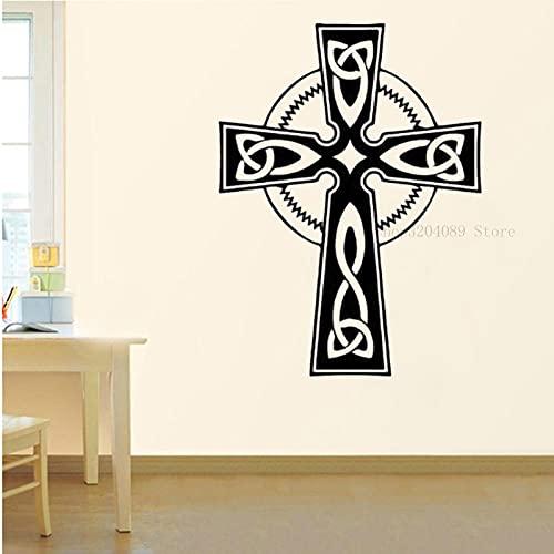 SSCLOCK Vinilo extraíble Holy Cross Figura Pegatina de Pared Religiosa fe Cristiana Iglesia Sala de Estar hogar Arte 42x56cm