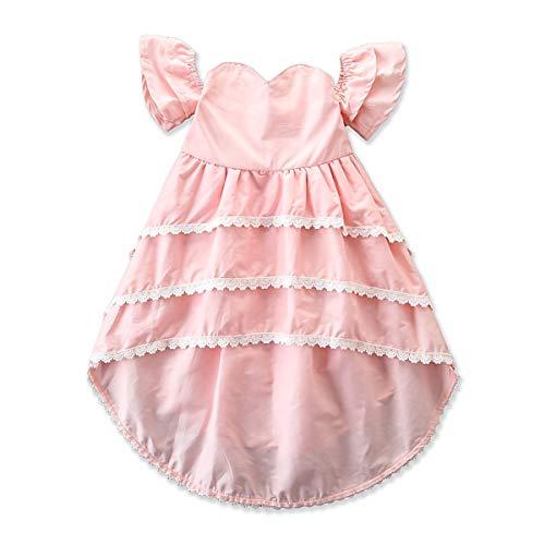 Puseky Abito da Sera per Bambina a Festa Basso in Pizzo con Vestitino da Bambina (Color : Pink, Size : 4Y-5Y)