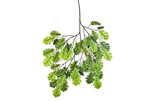 artplants.de Künstlicher Eichenblattzweig EMILIAN, 55 Blätter, grün, 55cm - Deko Zweig - Kunstpflanze