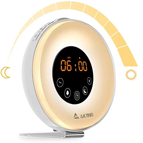 AK1980 Alarm Clock with Wake-Up Light Sunrise Simulation and FM Radio Function for Kids Teens Aged Sportsman (6639)