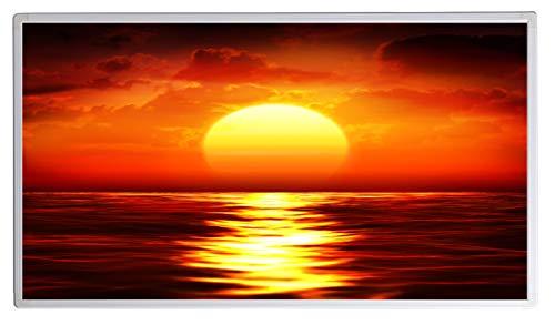 Bildheizung Infrarotheizung mit Digitalthermostat für Steckdose - 5 Jahre Herstellergarantie- Elektroheizung mit Überhitzungsschutz (Sonnenuntergang im Meer;1000W)