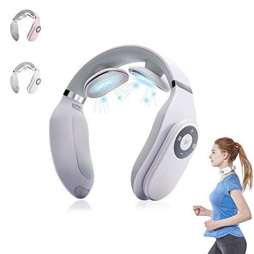 Nackenmassagegerät Intelligentes Halswirbel-Massagegerät mit Heizfunktion Tragbares Design Magnetfeldtherapiegerät USB Wiederaufladbar,Weiß