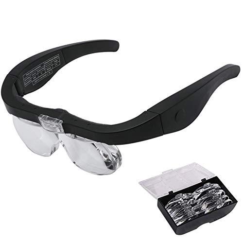 ZXZXZX Ricaricabile Occhiali Ingranditori Occhiale Professionale per la Riparazione Testa Lente di Ingrandimento a 2 LED Luce e 4 Lenti Intercambiabili Pieghevoli per Lettura Gioielli